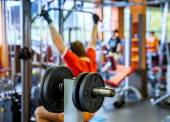 Barbell plates holder in gym — Stock Photo