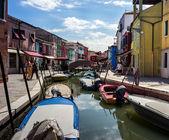 Bunten Häuser in Burano, Venedig Italien — Stockfoto