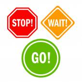 Stop wait go signs — Stock Vector