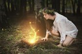 Fairies lights in a magical forest — Stock Photo