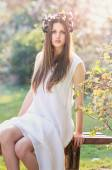 Spring nymph in white dress — Stock Photo