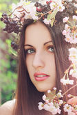 Spring flower woman — Stock Photo