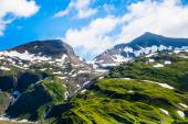 Green grassy hills, snow and peaked mountains — Stock Photo