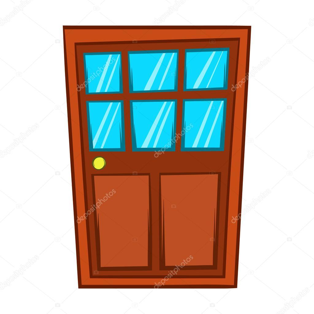 Puerta de madera marr n con icono estilo de dibujos - Dibujos de puertas ...