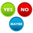 Yes no and maybe buttons — Stock Vector #64985223