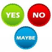 Yes no and maybe buttons  — Stock Vector