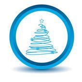 Blue fir-tree icon — Stok Vektör