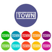 Town flat icon — Stock Vector