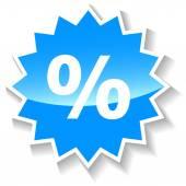 Percentage blue icon — Stock Vector