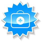 Lekarz worek niebieski ikona — Wektor stockowy