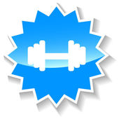 Barbell blue icon — Stock Vector
