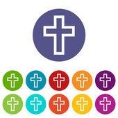 Protestant Cross flat icon — Stock Vector
