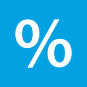 Por cento ícone branco — Vetor de Stock