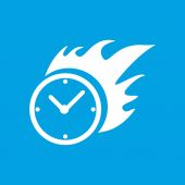 Hot clock white icon — Stock Vector