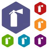 Fire extinguisher rhombus icons — Stock Vector