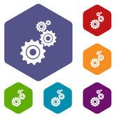 Ícones de losango de mecanismo — Vetor de Stock