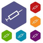 Syringe rhombus icons — Stock Vector