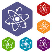 Atom rhombus icons — Stock Vector