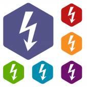 Lightning rhombus icons — Stock Vector