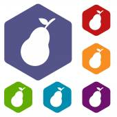 Pear rhombus icons — Stock Vector