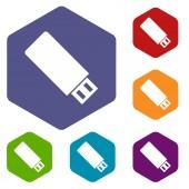 Flash drive rhombus icons — Stock Vector