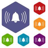 Alarmclock rhombus icons — Stock Vector