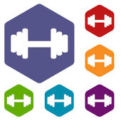 Barbell rhombus icons — Stock Vector