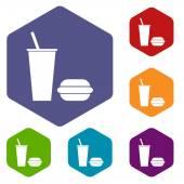 Fast-Food-Raute-Symbole — Stockvektor