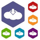 Wolk rhombus icons downloaden — Stockvector