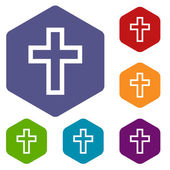 Protestant Cross rhombus icons — Stock Vector