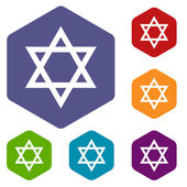 Judaism rhombus icons — Stock Vector