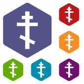 Orthodoxy rhombus icons — Stock Vector