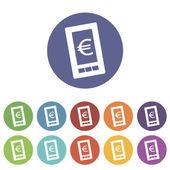Евро плоский значок телефона — Cтоковый вектор