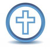 Blue Protestant Cross icon — Stock Vector