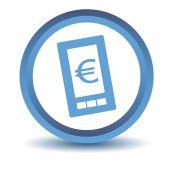 Blue euro phone icon — Stock Vector