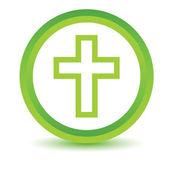 Green Protestant Cross icon — Stock Vector