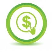 Fare clic sull'icona del dollaro verde — Vettoriale Stock