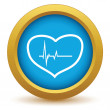 Gold heart beating icon — Stock Vector #70212899