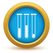 Gold flasks with medicines icon — 图库矢量图片