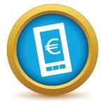 Icona del telefono euro oro — Vettoriale Stock  #70737539