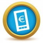 Gold euro phone icon — Stock vektor #70737539