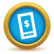 Gold dollar phone icon — ストックベクタ #70737533