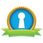 Gold keyhole logo — Stock Vector #70738661