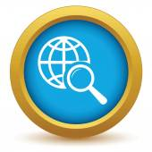 Gold world scan icon — Vettoriale Stock