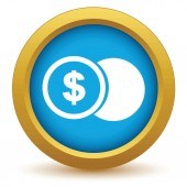 Gold dollar coin icon — Stockvector
