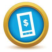 Gold dollar phone icon — Vecteur