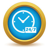 New gold clock icon — Stock Vector