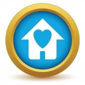 Guld kärlek hussymbol — Stockvektor