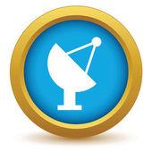 Gold satellite antenna icon — Stock Vector