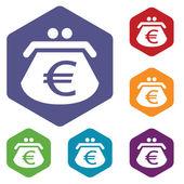Euro purse rhombus icons — Vecteur